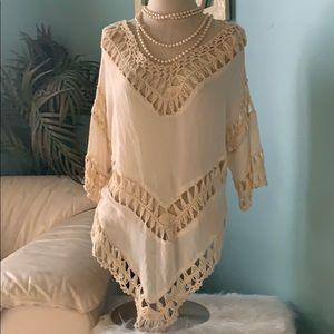 Boho tunic crochet macrame top sz sm / med